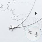 飛行機ネックレス&ピアスセット