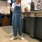 【送料無料】 オーバーサイズ デニム サロペット 刺繍 キャラクター ワンポイント ワッペン ワイドレッグ ゆったりサイズ 双子コーデ