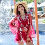 【水着】レース花柄プリント無地3点セットファッション水着ビキニ