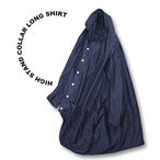 High stand collar long shirt [Black]