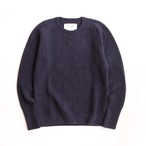 THE INOUE BROTHERS/Low Gauge/Waffle Crew Neck/Navy