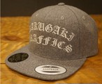 RAKUGAKI Melton Wool Old English SnapBack Cap Heather Grey x White