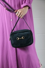 GUCCI Hose bit suede shoulder bag