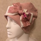 お花付きレースリボンのケア帽子 ピンク