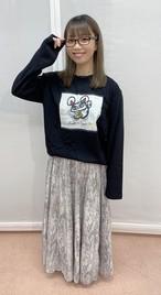 「Ms.招き猫★ロングTシャツ」ブラック【XLサイズ】