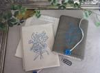 刺繍の文庫カバー(チャコールグレー)