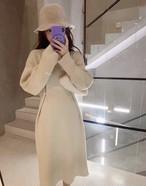 ウェストパールポイントワンピース ワンピース 韓国ファッション