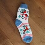 【ロシア】 厚手靴下 (トリとシカ) 24cm くつした くつ下 ウール