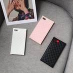 キルティング スクエア ストレート iPhone シェルカバー ( ブラック ホワイト ピンク ) ★ iPhone 6 / 6s / 6Plus / 6sPlus / 7 / 7Plus  / 8 / 8Plus / X ★ [NW428]