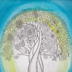 """絵画 インテリア アートパネル 雑貨 壁掛け 置物 おしゃれ 植物 創作イラスト ゼンタングル パターンアート ロココロ 画家 : Takuya Kawashima 作品 : 希望の樹""""光"""""""