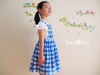 女の子のジャンパースカート(手描きチェック・ブルー)