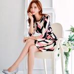 ドレス ワンピース S〜XL 七分袖 膝丈 色鮮やか♢♦︎結婚式や二次会・お呼ばれ