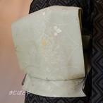 正絹 白緑に唐花のなごや 西陣織