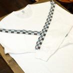 KUON(クオン) 袖・市松二重織 ロングTシャツ ホワイト