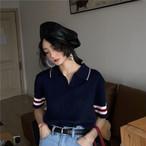 ポロシャツ風デザイン 半袖 ニット トップス【16351】