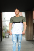 ONE-X LOWER CHEST BLOCKING T-SHIRT OLIVE