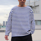 Basque 10oz French Boarder Boat Neck  Box Tee Kinari × Blue