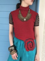 Vintage red × brown lame tops ( ヴィンテージ レッド × ブラウン ラメ トップス )