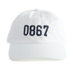 0867 / Washed Cotton Baseball Cap / College / Logo / White