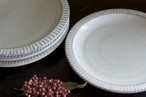 白い陶器の8寸鎬平皿