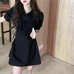 【6/12まで30%OFF!!】フリル シャーリング デザイン シャツ ミニ ワンピース ブラック ワンカラー B7612