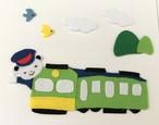 くまくんが運転手 アイロンアップリケ 大サイズ (青&黄色小鳥)3