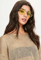 MISSGUIDED Yellow Lens Aviator Sunglasses 10SE006-17 |インスタでも話題の海外セレブ系レディースファッション Carpe Diem