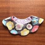 猫首輪 スタイ首輪 もくもくキャットスタイ ダブルガーゼ CAT BIB 花柄 パンジー 紫系