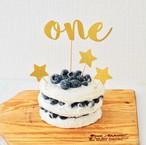バースデーケーキトッパー(R・名前なし・グリッターゴールド) 誕生日 飾り付け