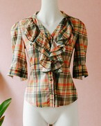frill checked cotton blouse