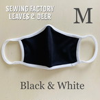 日本製 涼感サラサラ 吸汗速乾 UVカット 夏のマスク ブラック&ホワイト Mサイズ