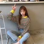loose striped long T shirts 3024