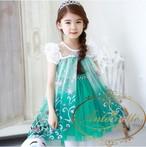 グリーン ピンク 半袖 ワンピース 花柄 エルサ アナ雪 ワンピ 女の子 可愛い 綺麗 グラデーション チュニックワンピース