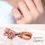 ピンキーリング 指輪 スワロフスキー リング ピンクゴールド ピンク クリア 無料コーティングカラー変更