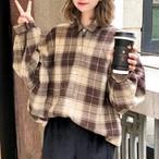 【tops】一目惚れ人気チェック柄文芸スタイル合わせやすいシャツ23135261
