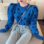 ドットパフニット ニット セーター 韓国ファッション