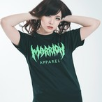 MARRION APPAREL LOGO DRY TEE (Black× fluorescent Green)