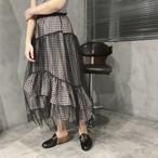 plaid fril lace skirts 2442