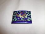 瑠璃鳳凰帯留(雄山 作) porcelain obi sash clip