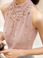 【tops】Summer strapless sleeveless sexy chiffon vest