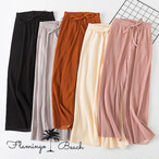 【FlamingoBeach】pleats chiffon pants