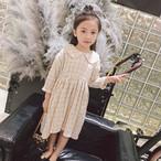 Kids♡ラウンドカラー フィッシュテール チェック ワンピース/ドレス/フリル/コットンリネン/Aライン/女の子/キッズ