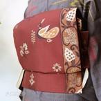 正絹 深緋(ふかきあけ)の袋帯