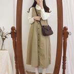 【dress】ファッション無地シングルブレストノースリーブカジュアルワンピース23821816