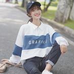 【tops】アルファベットpoloネックカジュアルTシャツ26635459