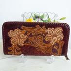 BAGみたいにサマになるワインカラーのカービングのお財布 ~唐草&お花(送料無料)