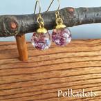 ガラスドーム!紫色(パープル)かすみ草のイヤリング