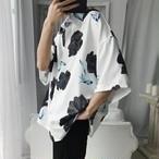 メンズ シャツ 韓国系 半袖 花柄 プリント 柄 柄シャツ 送料無料