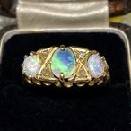 イギリス アンティークリングK18 指輪 オパール ダイヤモンド ©️1900年前後