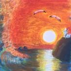 絵画 インテリア アートパネル 雑貨 壁掛け 置物 おしゃれ スプレーアート パステル 水彩画 夕陽 ロココロ 画家 : Artist 織田 堯 作品 : o-3